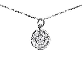 Silver 14mm Tudor Rose of England Pendant with a 1mm wide rolo Chain 24 inches