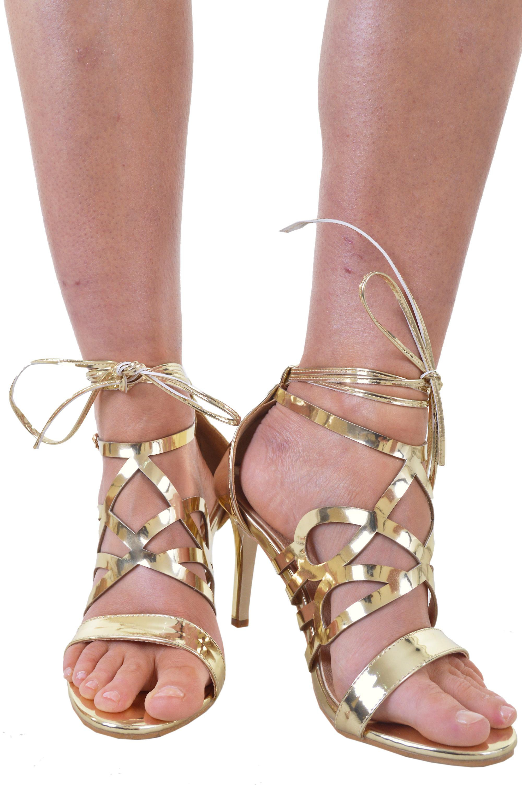 Lovemystyle Gold Caged Heeled Sandals With Tie Ankle