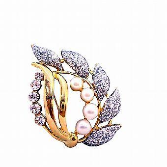 Glitered 葉真珠立方ジルコンとスタイリッシュな派手な金のブローチ