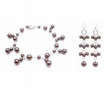 Brudepige bryllup smykker chokolade brune perler armbånd & øreringe