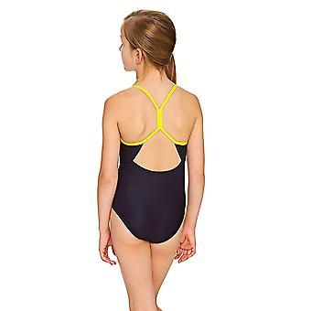 Mittelerweile Girls' Batman Sprintback Badeanzug, schwarz/gelb