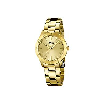 Lotus women's quartz watch 18140/2 analog display, and Golden dial stainless steel gold plated