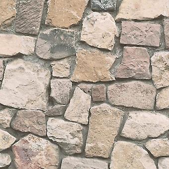 Tapete Backstein Steineffekt Schiefer rustikal verwitterte geprägt Beige Grau