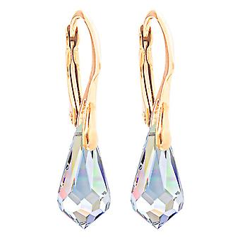 Ladies 11 x 5.5mm Aurore Boreale Drop Pendant Earrings with Crystals From Swaovski