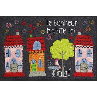 Salon Leeuw mat Le Bonheur 50 x 75 cm. wasbaar vuil mat
