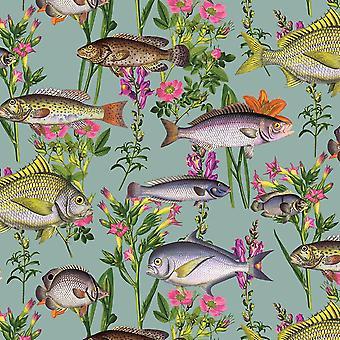 Lagon Teal Wallpaper par Holden Fish animaux Aqua Sea Life floral fleurs marines