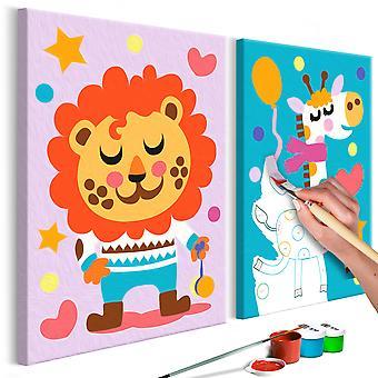 Doe-het-zelf op canvas schilderen - Lion & Giraffe