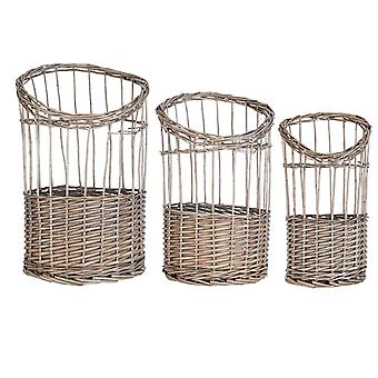 Clayre & Eef 6RO0340 3 Rattan Baskets for Storage . . . . . . . . . . . . . . . . . . . . . . . . . . . . . . . . . . . . . . . . . . . . . . . . . . . . . . . . . . . . . . . . . . . . . . . . .