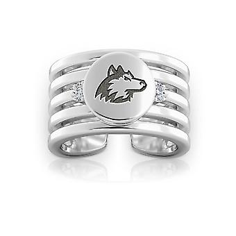 Northern Illinois University graviert Sterling Silber Diamant Multiband Manschette Ring