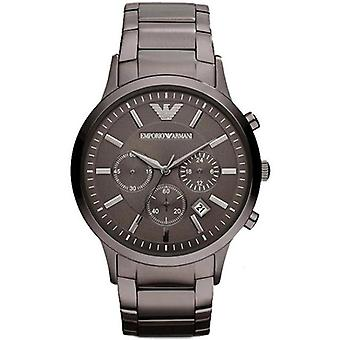 Emporio Armani Ar2454 Mens Grey Stain Steel Bracelet Chrono Watch