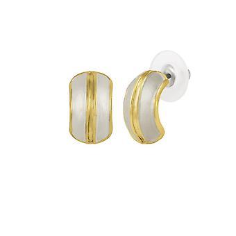 Eterna colección Elite esmalte blanco dorado perno perforado pendientes