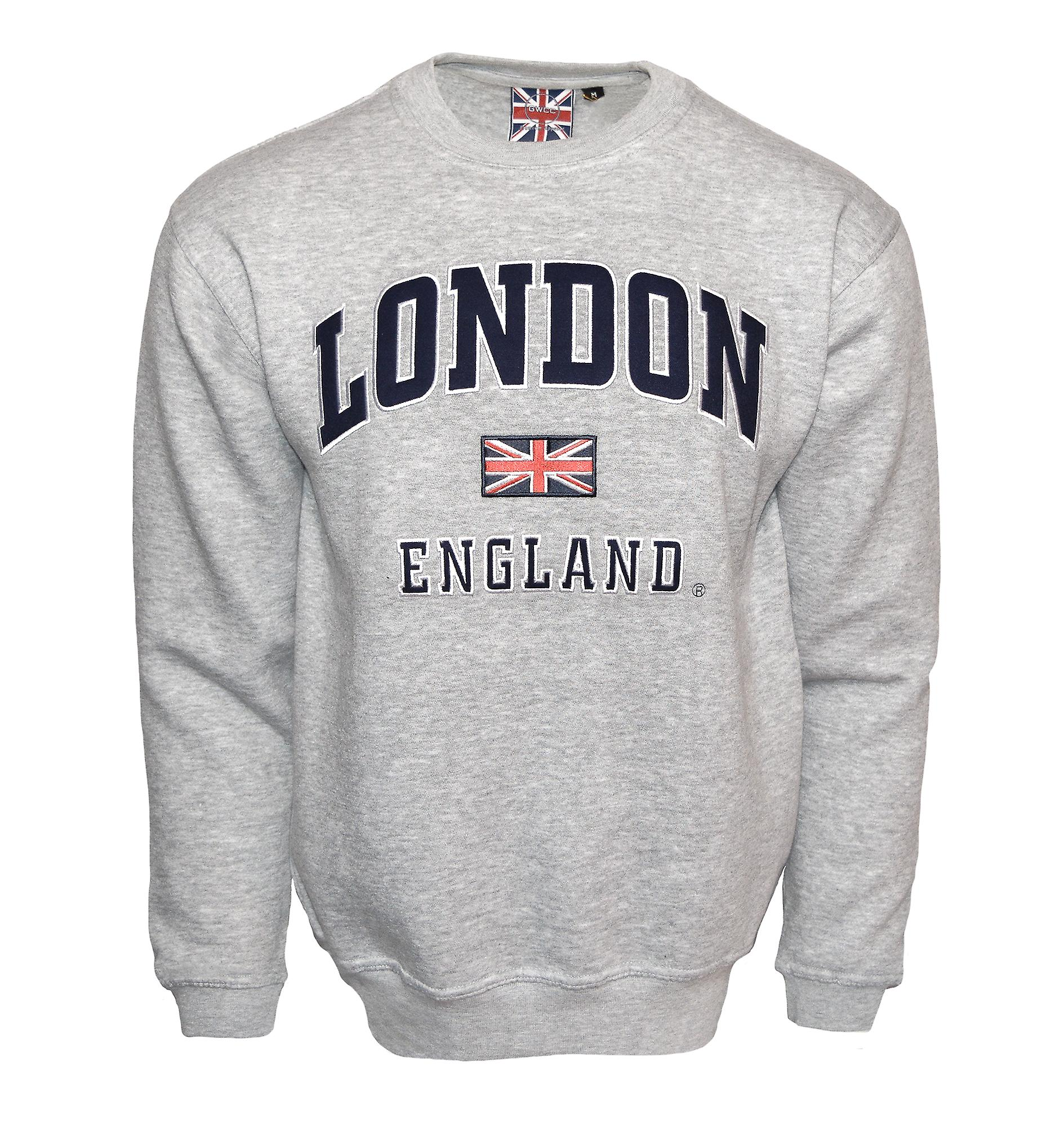 Le201gn unisex london england sweatshirt grey navy xs-2xl