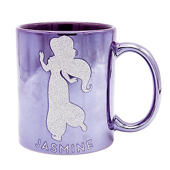 Disney Princess Jasmine Tasse Metallic MAKING MY OWN CHOICES lila, Glitterdruck, Metallicglanz, 100 % Keramik,  ca. 320 ml., Geschenkbox.
