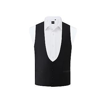 Dobell Mens Black Tuxedo Waistcoat Regular Fit Horseshoe