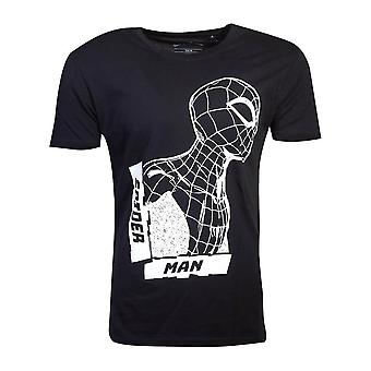 Men's Spider-Man Side View Spidey Black T-Shirt