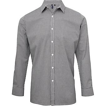 Premier - Mens Microcheck (Gingham) Long Sleeve Cotton Shirt