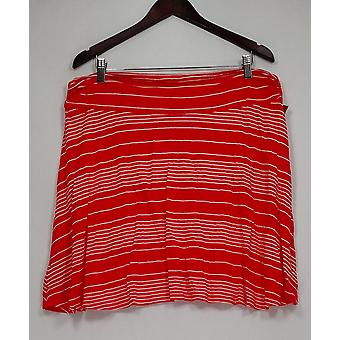 Merona Skirt Striped Pull-on A-line Orange/White Womens