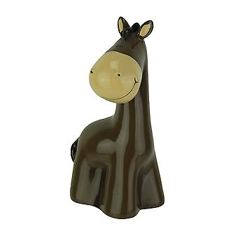 Whimsical Brown Horse Childrens Hand Painted Coin Bank