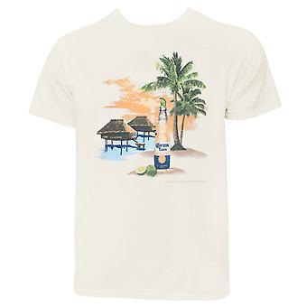 Corona Beach Scene Men's Ivory T-Shirt