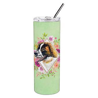 Saint Bernard #2 grüne Blumen Doppel wandbemauert Edelstahl 20 oz Skinny Tumble
