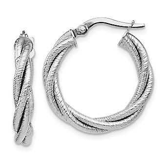 14k White Gold Textured Polished Hinged post Twisted Triple Twist Hoop Earrings Jewelry Gifts for Women