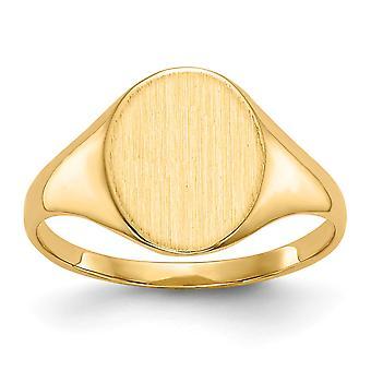 14k Ouro Amarelo Sólido Engravável Anel de Sinalização Polida Tamanho 6 Joias para Mulheres - 3,3 Gramas