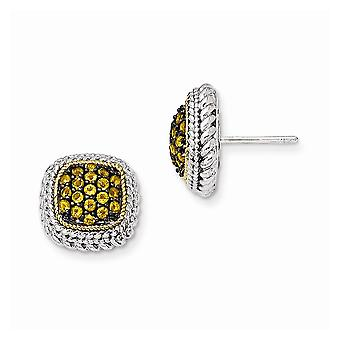 925 Sterling Silver With 14k and Black Rhodium Citrine Post Earrings Jewelry Gifts for Women