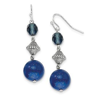 Silver tone Shepherd hook Blue Bead and Crystal Long Drop Dangle Earrings Jewelry Gifts for Women