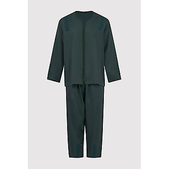 Jabador kotba menn ' s langermet tunika topp og bukse co-ord satt i grønt