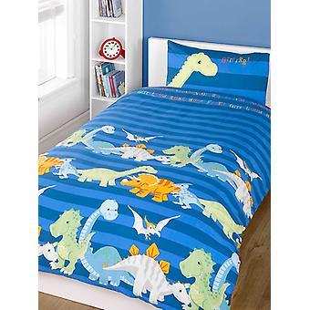 Dinosaurs Blue Junior Toddler Duvet Cover & Pillowcase Set