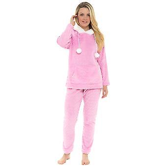 Dames hart micro fleece met capuchon Twosie pyjama set