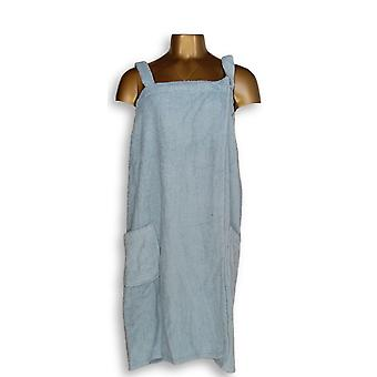 Cuddle Down Women's Robes Pocketed Wrap w/ Removable Straps Blue