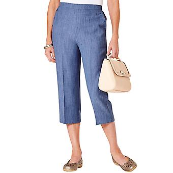 Ladies Womens Linen Look Crop Trouser