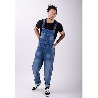 Bertie mens loose fit dungarees midwash