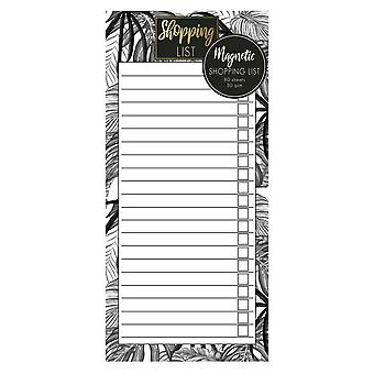 Monochrome Jungle Magnetic Refrigerator Shopping List Pad