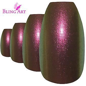 False nails by bling art gold green chameleon ballerina coffin 24 fake tips
