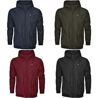 Lambretta Mens Hooded Shower Resistant Harrington Long Sleeve Zipped Jacket Coat