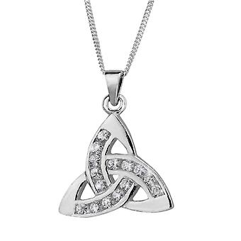 Celtic Holy Trinity Knot Necklace Pendant - Cubic Zirconia Stones - Includes 20