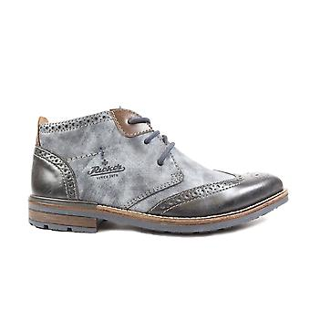 Rieker Johnny B1343-14 Navy Leather Mens Lace Up Brogue Ankle Boots