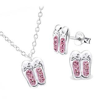 Mädchen rosa Kristall Ballettschuhe gestellten 925 Sterling Silber Halskette und Gestüt Ohrringe