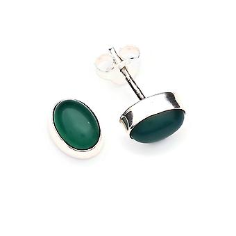Green Onyx Stud saearrings 925 Argento Sterling Orecchini d'argento verde (MOS 40-14)