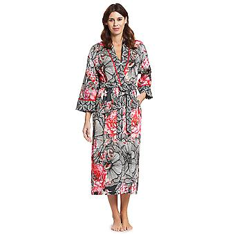 Féraud 3191011-10005 Dames's Couture Black Multicolor Cotton Dressing Loungewear Robe