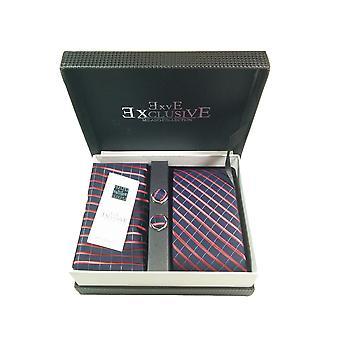 Tie, Cufflink & Hankerchief Set Exlusive Milan Collection 100% Hand Made Navy Red and thin white stripe