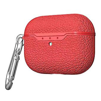 For AirPods Pro Case, Protective Lychee Texture TPU Box with Hook, Red