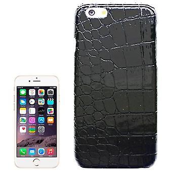 for iPhone 6S, 6 tilfelle, krokodille hud tekstur høy kvalitet skjerming deksel, svart