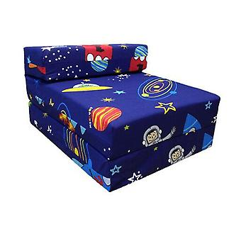 Children's Z Bed Fold Out Chair Space Boy Planets Rocket Matras Sleepover Kids