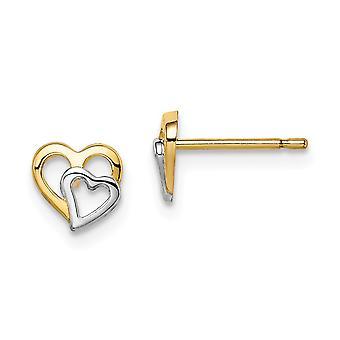 14k Madi K e Rhodium Branco Cut Out Love Hearts Post Brincos Joias Presentes para Mulheres - .4 Gramas
