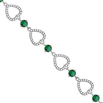 925 Sterling Silber Frauen Runde CZ Zirkonia simuliert Diamant Liebe Herz Link mit grünen Stein Cluster Mode Br