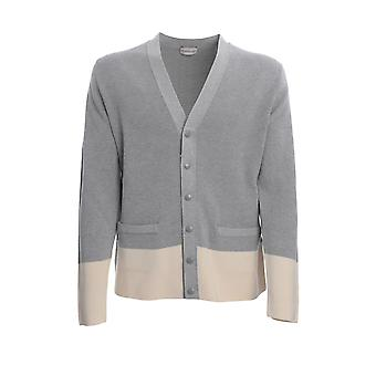 Moncler 9b70000v9097985 Men's Grey Cotton Cardigan