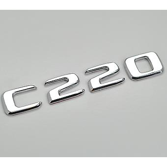 Silver Chrome C220 Flat Mercedes Benz Car Model Numbers Letters Badge Emblem For C Class W202 W203 W204 W205 AMG